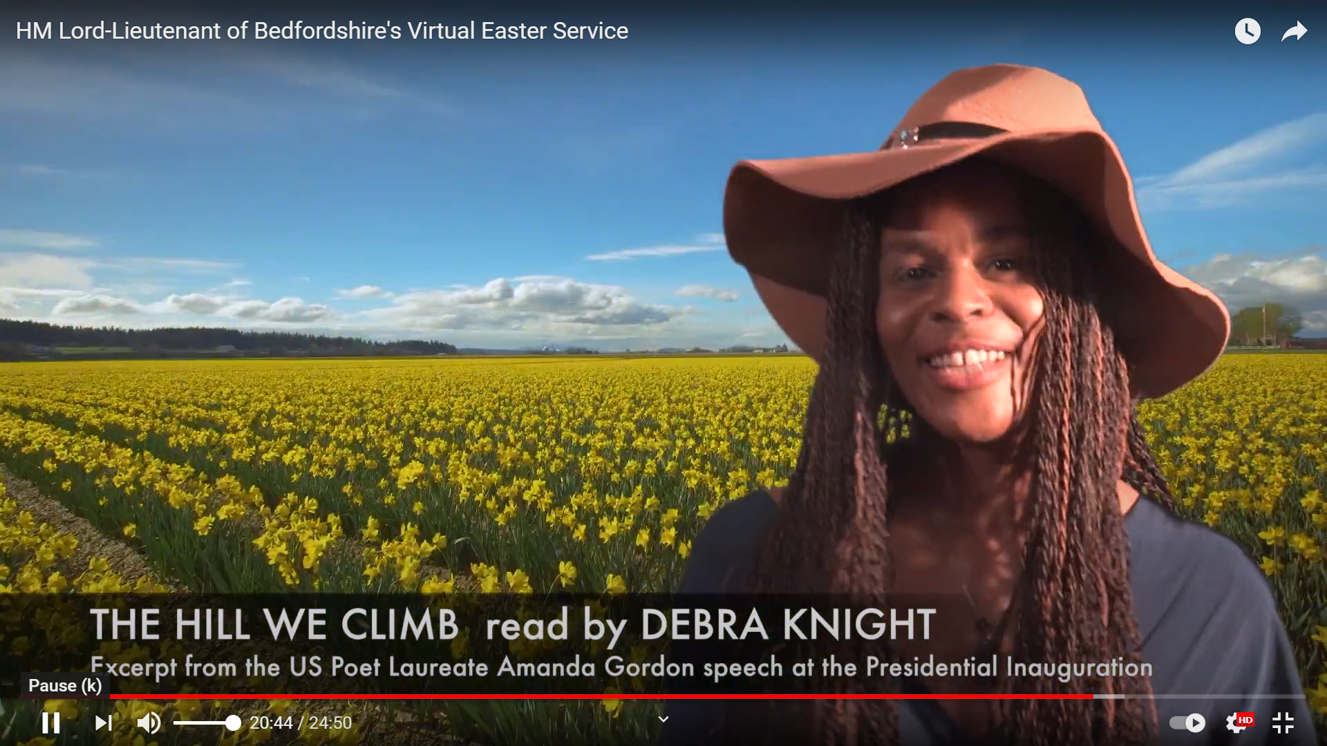 """Naz Knight reading Amanda Gorman """"The Hill we Climb"""" at the Lord Lieutenant of Bedfordshire Virtual Easter service"""